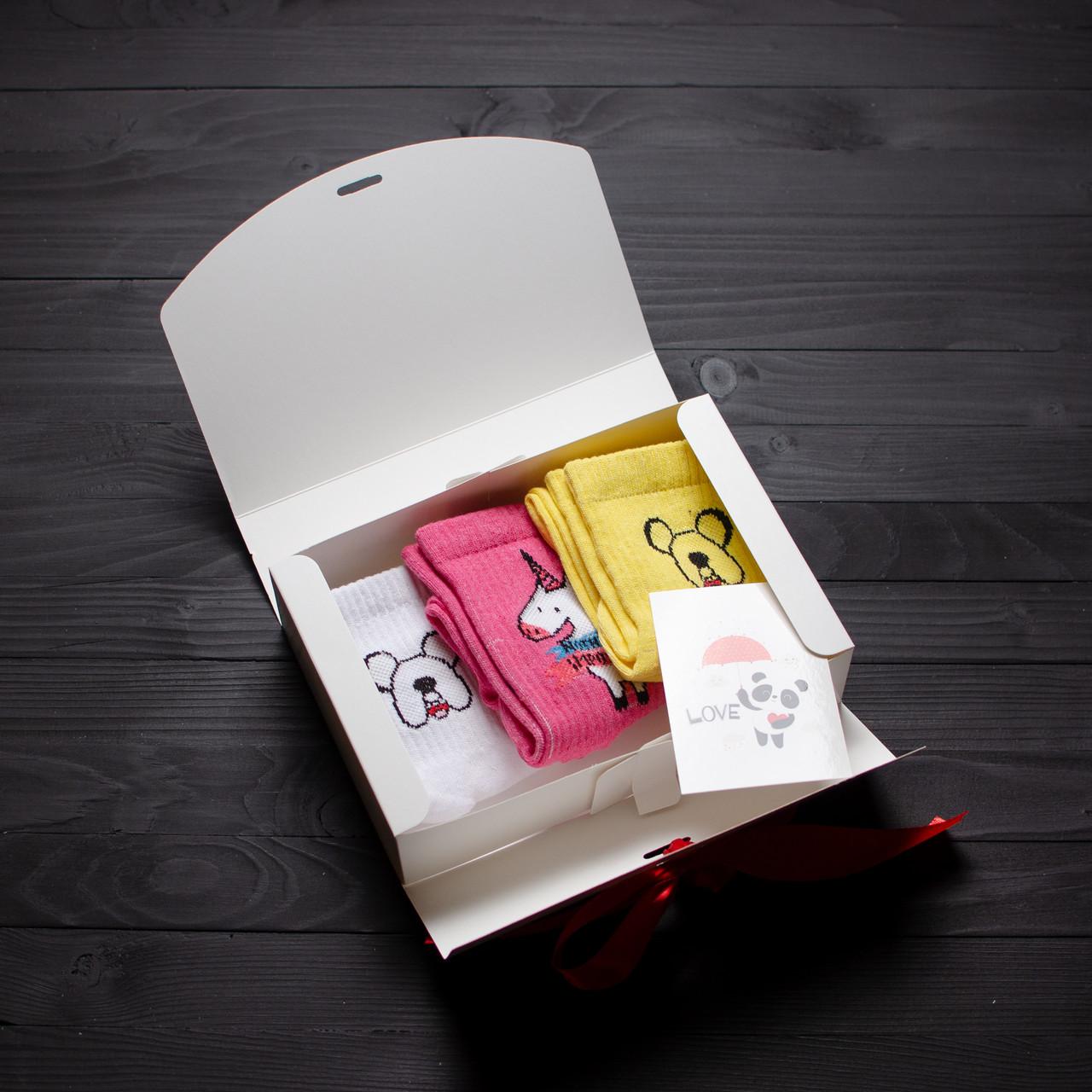 Подарочный набор женский носки 3 шт. Время Приключений белый, жёлтый, Единорог розовый