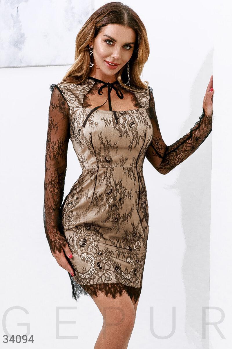 Утонченное кружевное платьеS,M,L,XS