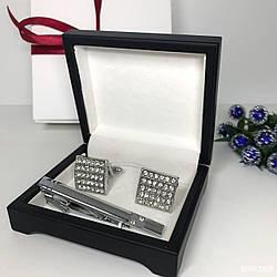 """Чоловічий набір запонки та затискачі для краватки """"Георг"""" Premium, сріблястий в коробочці з білим оксамитом."""