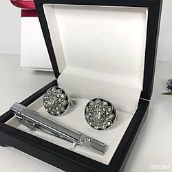 """Чоловічий набір запонки та затискачі для краватки """"Тед"""" Premium, сріблястий в коробочці з білим оксамитом."""