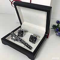 """Мужской набор запонки и зажим для галстука """"Андорі"""" Premium, серебристый в коробочке с белым бархатом., фото 1"""