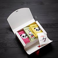 Подарочный набор женский носки 3 шт. Панда жёлтый, розовый, Единорог зелёный