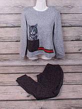 Спортивный костюм из трикотажа ангора-софт начёс с сублимацией (чёрный, серый)