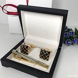 """Чоловічий набір запонки та затискачі для краватки """"Сітка"""" Premium, сріблястий в коробочці з білим оксамитом."""