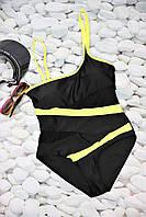 Женский черный купальник со съемной бретелей 42-46 р