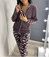 Р-р 42-44, 46, 48, 50, (Комплект для сна - пижама, маска), Пижама флисовая женская теплая
