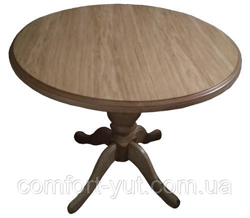 Стіл Анжеліка обідній розкладний дерев'яний 90(+38)*90 натуральний