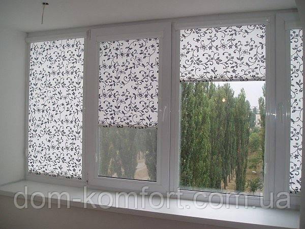 Рулонные шторы Дамаск - Ролета тканевая с цветочным восточным узором серебро