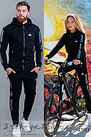 Трикотажные одинаковые костюмы Адик черные, фото 1