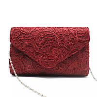 Клатч вечерний женский кружевной модный бордовый
