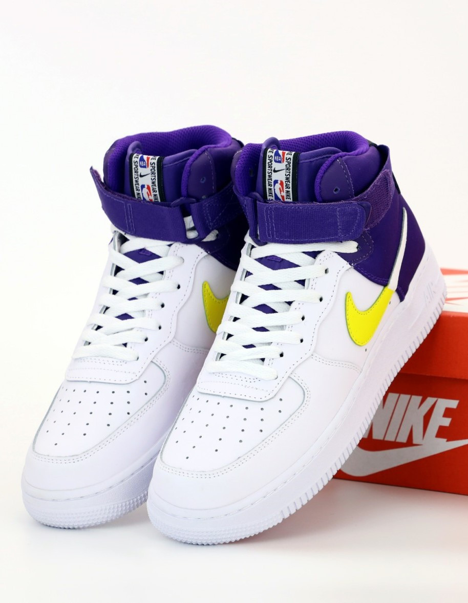 Мужские кроссовки Nike Air Force 1 Mid White, Purple