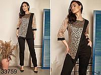 Элегантный нарядный женский костюм блуза туника с брюками на резинке больших размеров 50 - 60