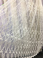 Кремовый тюль с вышивкой шнуром