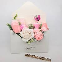 Букет из мыла ручной работы, конверт роз, букет роз, фото 1