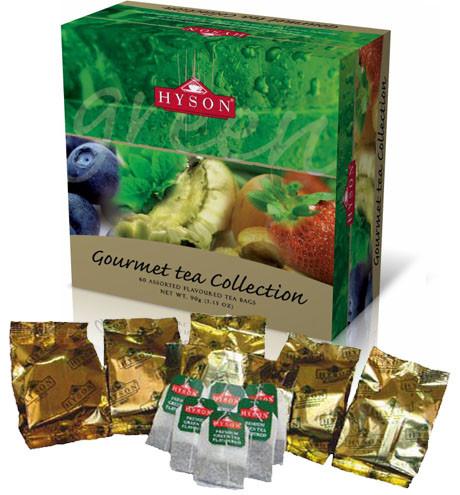 Зеленый чай Hyson Gourmet Tea Collection c фруктовыми вкусами в пакетиках 60*1,5 г