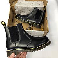 Dr. Martens Chelsea Black с мехом черные;кожаные ботинки. Женские челси. Зимние челси