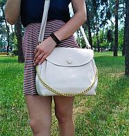 "Женская кожаная сумка ""Пуговка 2 White"", фото 1"