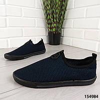 """Мокасины мужские, синие """"Nesmo"""" текстильные, туфли мужские, повседневная, удобная, весенняя, мужская обувь"""