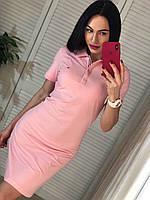 Модное  трикотажное турецкое летнее платье-поло, розовый, фото 1