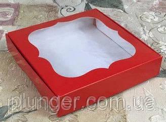 Коробка для печенья, пряников, с окном, 15 см х 15см х 3 см, мелованный картон