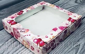 Коробка для печива, пряників, з вікном, 15 см х 15 см х 3 см, мілований картон Сердечка