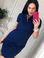 Модное  трикотажное турецкое летнее платье-поло, темно-синий, фото 1