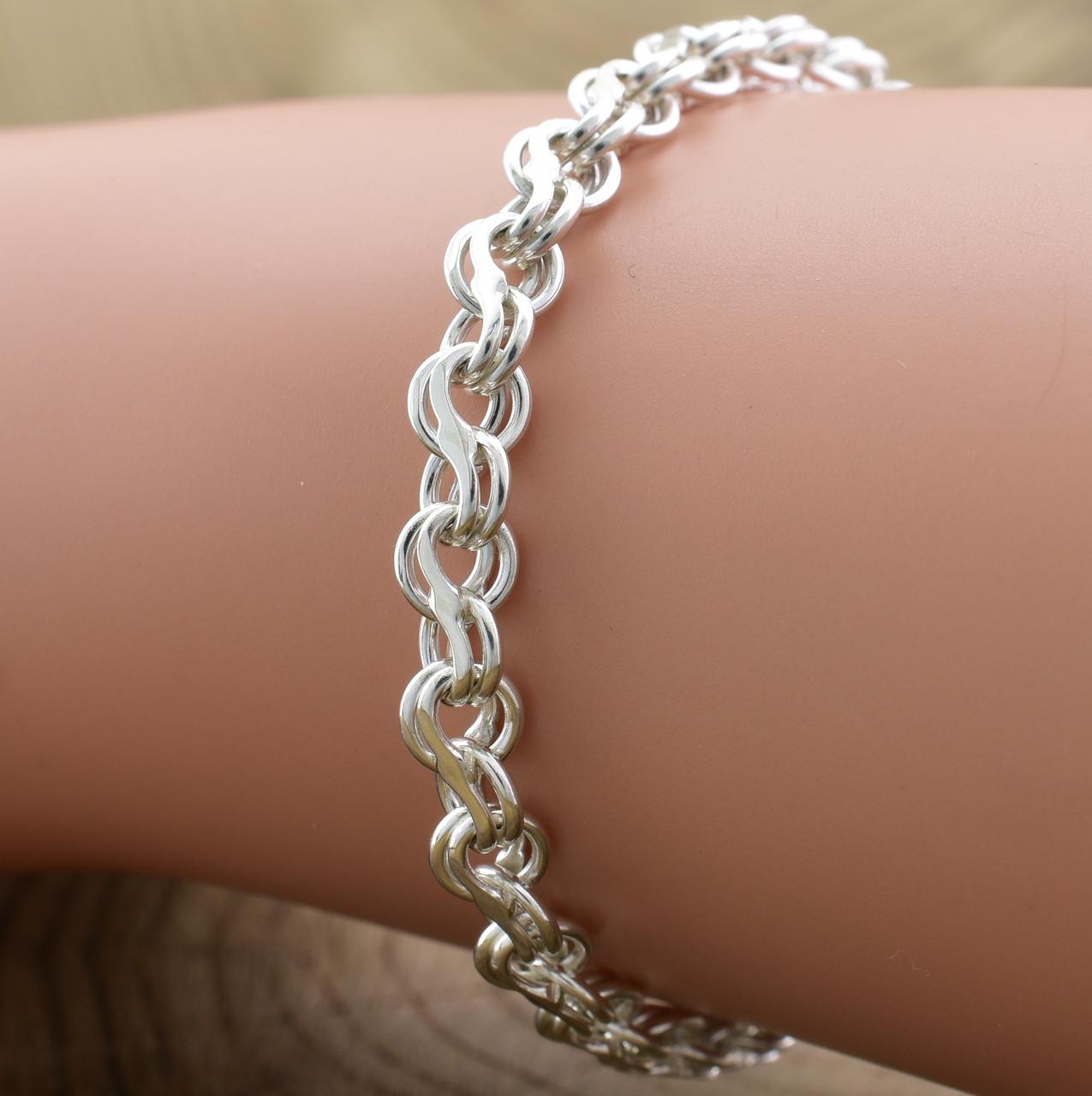 Серебряный браслет Венеция длина 19 см ширина 5 мм вес серебра 7.9 г