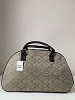 Текстильная бежевая дорожная сумка-саквояж женская для ручной клади