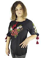 Подростковая вышитая женская сорочка на черном полотне, фото 1