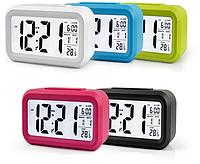 Електронні годинник/будильник LED з розумною підсвічуванням і термометром, фото 1