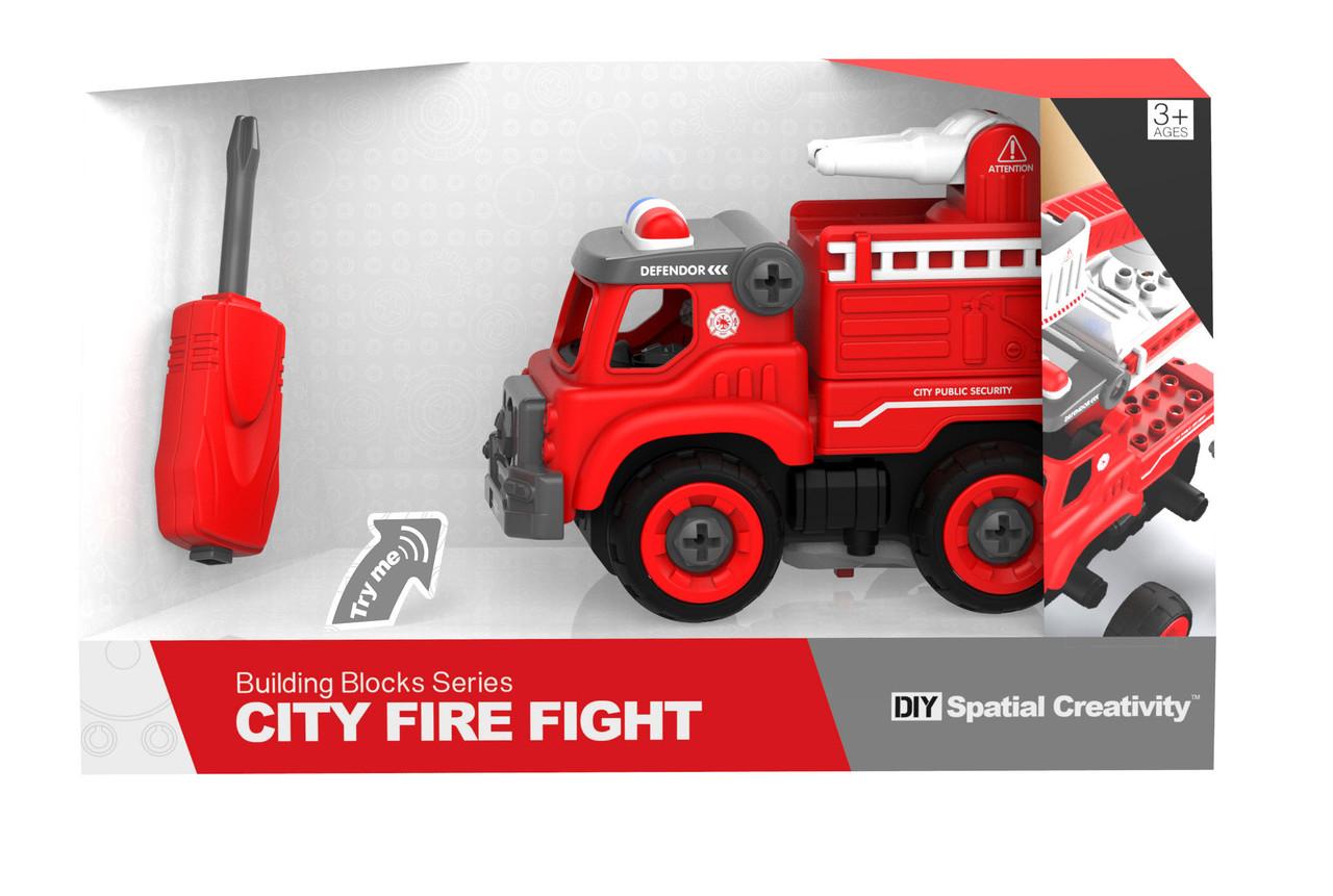 Машинка конструктор Пожарная машина, красная