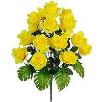 Цветы искусственные, букет розы с монстерой, 64см, фото 1