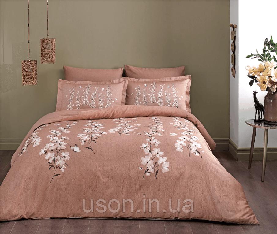 Комплект постельного белья сатин Tac  семейный размер RONNA KAHVE