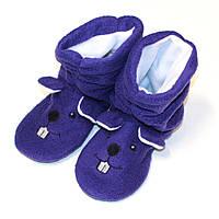 Домашние детские тапочки-сапожки с вышивкой Slivki Мышки фиолетовые 32-33