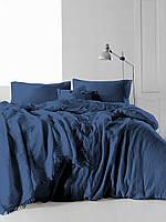Комплект постельного белья Muslin SoundSleep Dark Blue Двуспальный евро комплект