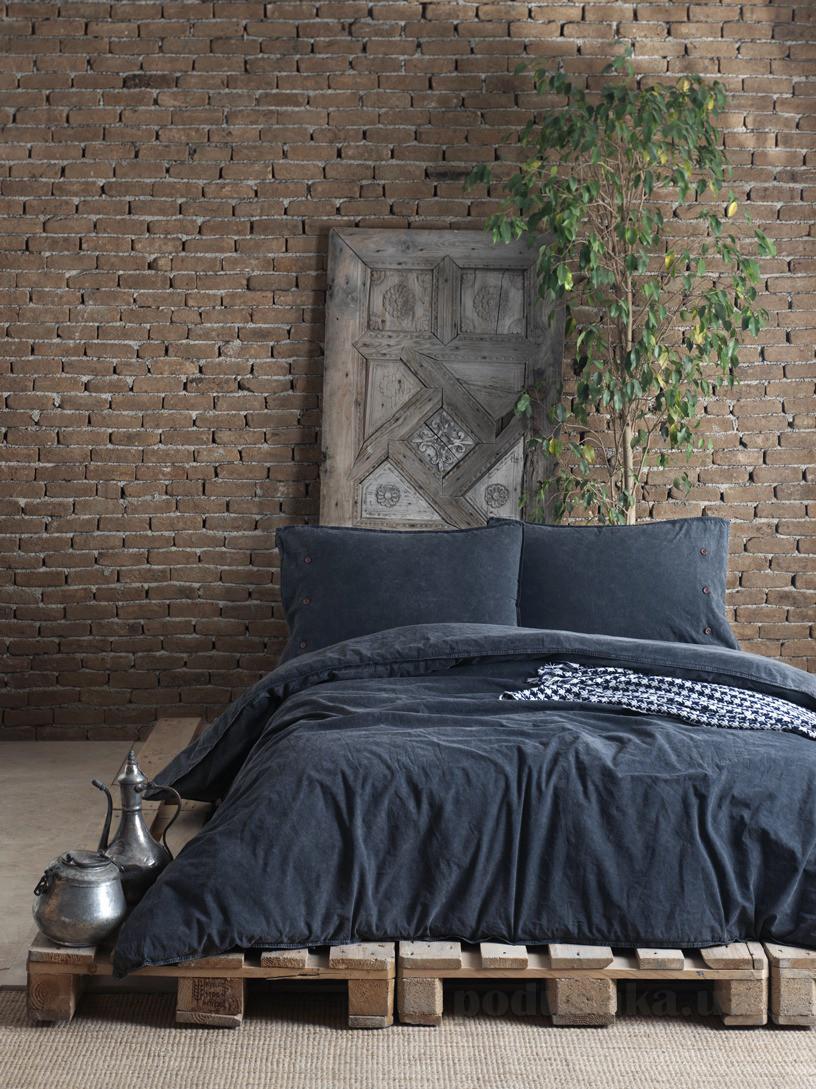 Комплект постельного белья SoundSleep Stonewash Denim dark grey Двуспальный евро комплект