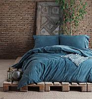 Комплект постельного белья SoundSleep Stonewash Denim dark blue Двуспальный евро комплект