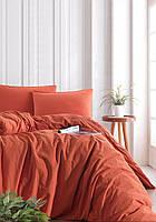 Комплект постельного белья SoundSleep Stonewash orange кирпичный Двуспальный евро комплект