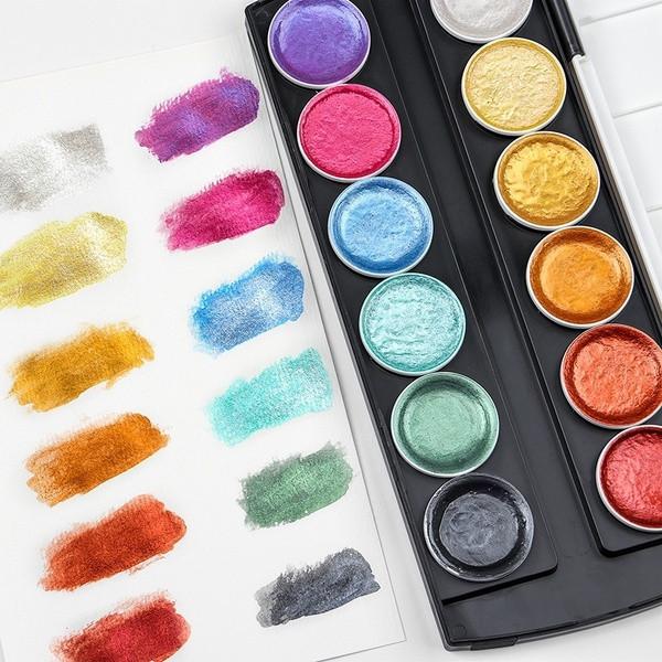 Набір для малювання. Фарби акварельні з перламутром ( металік) 12 кольорів
