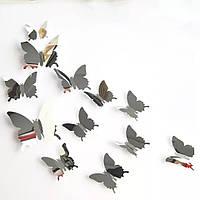 Бабочки зеркальные. Наклейки 3D 12 шт /уп. Серебро