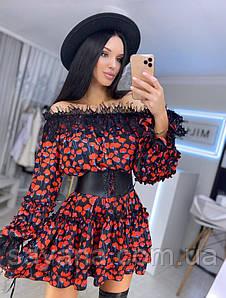 Женское шелковое платье с кружевом, в расцветках. ВФ-4-0220