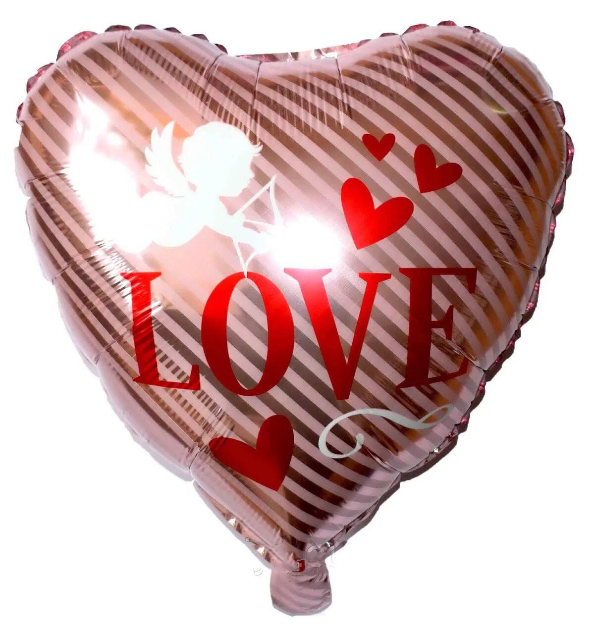 Фольгированный шар сердце Купидон Love. Размер: 43*48см