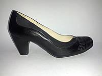 Кожаные польские женские удобные классические черные туфли на каблуке 36 Tanex