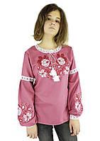 Підліткова стильна вишиванка з трояндами для дівчини у рожевому кольорі