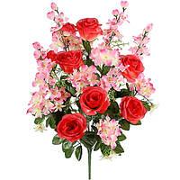 Букет композиция розы с гладиолусом и геранью, 69см, фото 1