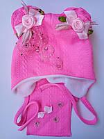 Шапка и шарф для девочки демисезонные с украшением