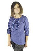 Джинсовая вышитая блуза для девочки подростка с рукавом 3/4, фото 1