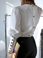 Стильная женская блуза с пуговками, молочного цвета