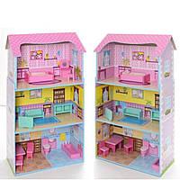 Деревянный домик для кукол Лол в 3 этажа с мебелью (аналог KidKraft)