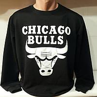 """Свитшот спортивный мужской""""Chicago bulls"""" размеры46-52, цвет черный с белым"""